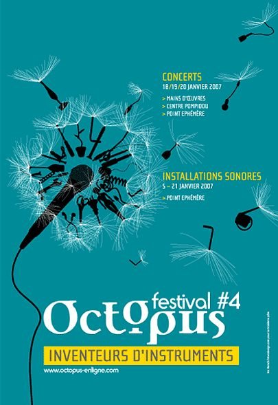 Poster for the Music Festival Octopus, Paris © intwodesign