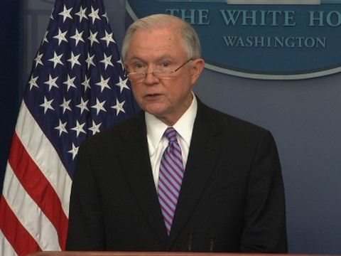 """The #Trump #administration is continuing its tough talk against """"#sanctuary #cities.""""  Attorney General Jeff Sessions said states and local governments that don't comply with immigration laws won't receive certain federal grants. (March 27) https://youtu.be/brQthGaAn4w #sanctuarycities"""
