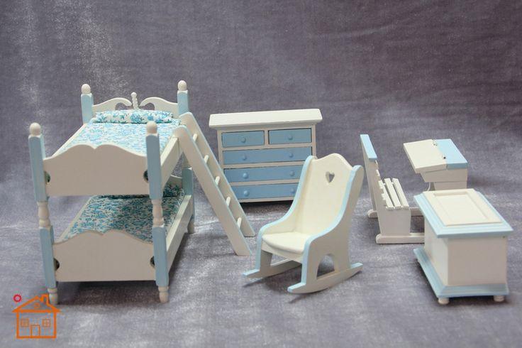 1:12 кукольный домик мебель для спальни вилла мини-модель синий и белый милые детская комната детская комната Лю Jiantao - Taobao