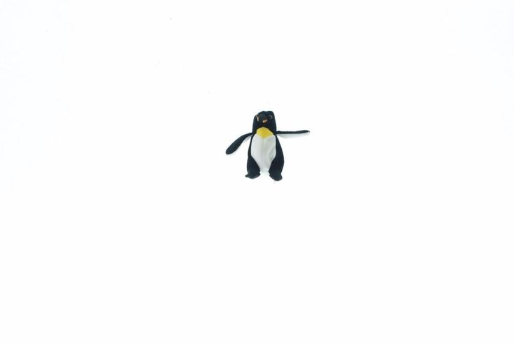 "A&A Black Penguin Yellow Chest Beak Flappy Wings Plush Stuffed Animal Toy 6"" #SASUSA"