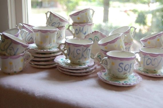 Personalized child 39 s sized handpainted tea cup and saucer for Teacup party favors