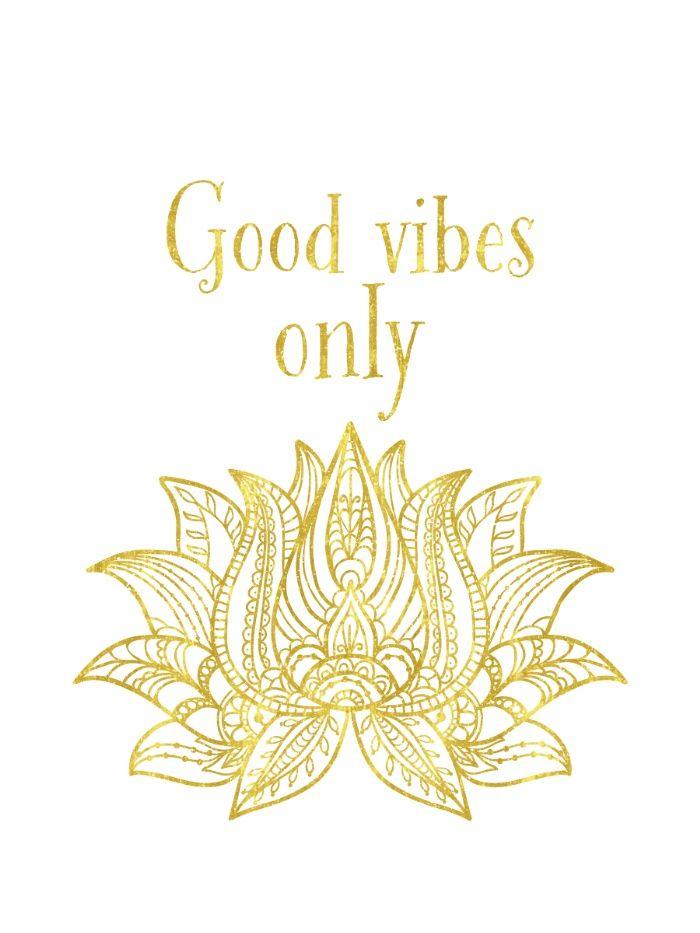 Good vibes golden Lotus Art Print