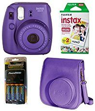 Fujifilm Instax Mini 8 Instant Film Camera (Grape) http://ecx.images-amazon.com/images/I/41-4sdisw5L._SL75_.jpg New slimmer and lighter body Automatic exposure measurement. The camera signals the recommended aperture setting with a flashing LED. This helps capture the perfect photo every time. New High-Key mode - Take brighter pictures with a soft look - perfect for portraits. New improved viewfinder for greater clarity and visibility. Uses Mini Instax film The new, ...