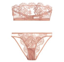 I.D. Sarrieri Jamais le Premier Soir Tulle and Chantilly Lace Bandeau Bra ($185.00) and Brief ($140.00) in Blush I Bedroom Barre: Ballet-Inspired Lingerie & Loungewear Fit For a Fairytale