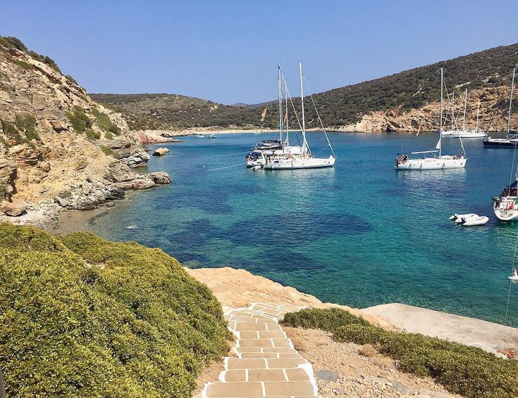 Sifnos island (Σίφνος)❤️! The amazing Fikiada bay , you can visit it by the Sea or through a rare beauty Path