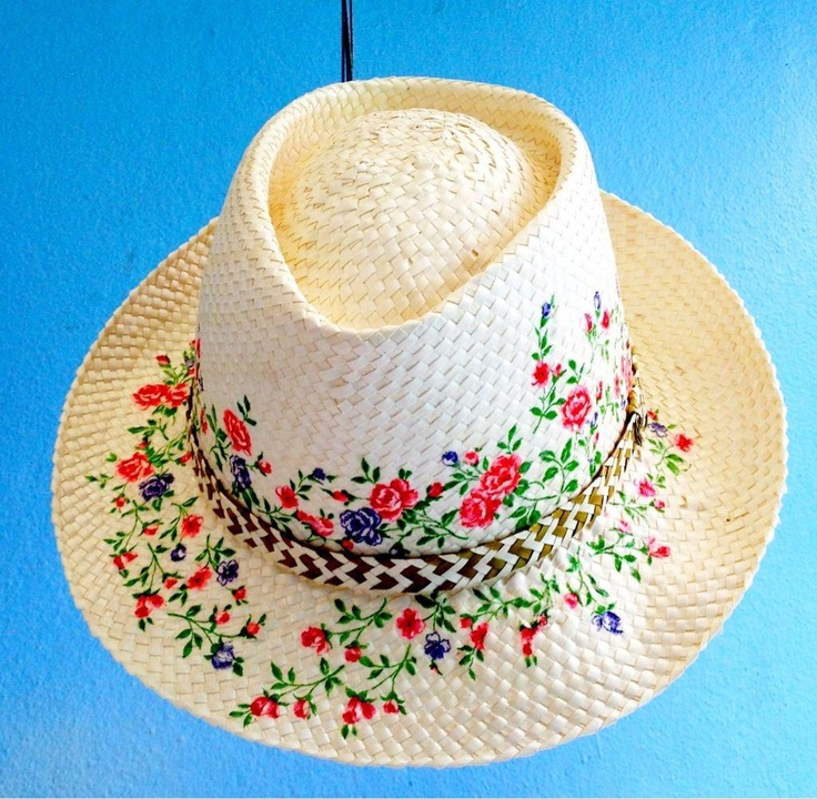 Sun hat decorated with decoupage technique