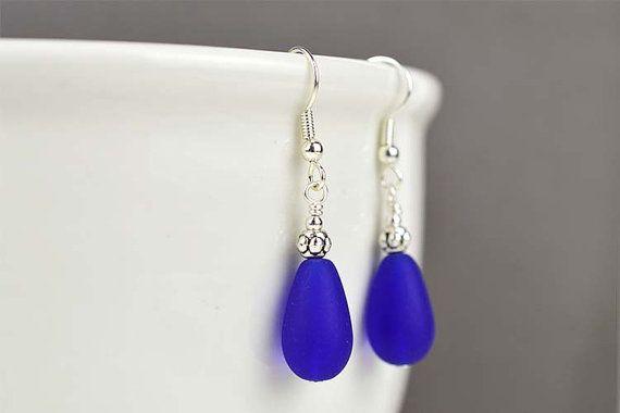 Bleu de cobalt bleu mer boucles d'oreilles mer verre par LinaColors