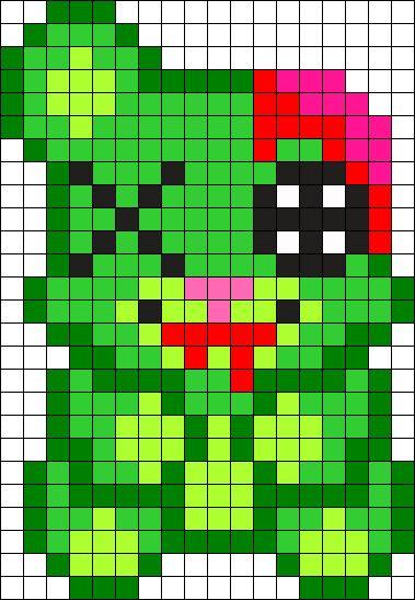 Zombie Teddy Bear Perler Bead Pattern / Bead Sprite