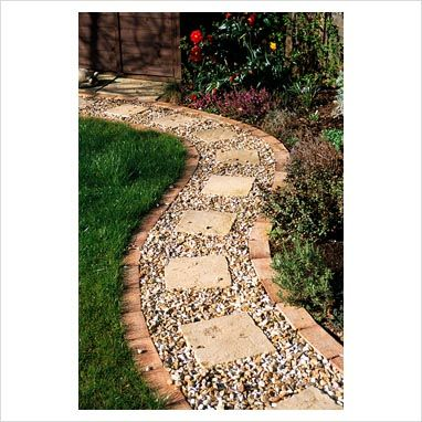 GAP Photos - Garden & Plant Picture Library - Gravel Path with brick edging and square slab inlays - GAP Photos - Specialising in horticultural photography