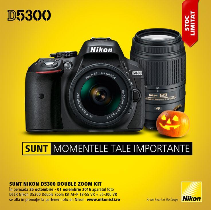 In perioada 25 octombrie - 01 noiembrie 2016 aparatul foto DSLR Nikon D5300 Double Zoom Kit AF-P 18-55 VR + 55-300 VR se afla in promotie la partenerii oficiali Nikon.