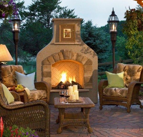 Creative Outdoor Patio Lighting Decor Ideas: Backyard Ideas, Gas Fireplace, Fireplaces Design, Outdoor Living, Outdoor Patio, Outdoor Fireplaces, Outdoor Spaces, Fire Places, Fire Pit