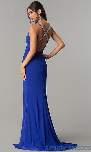 Open-Back Zoey Grey Long Formal Prom Dress