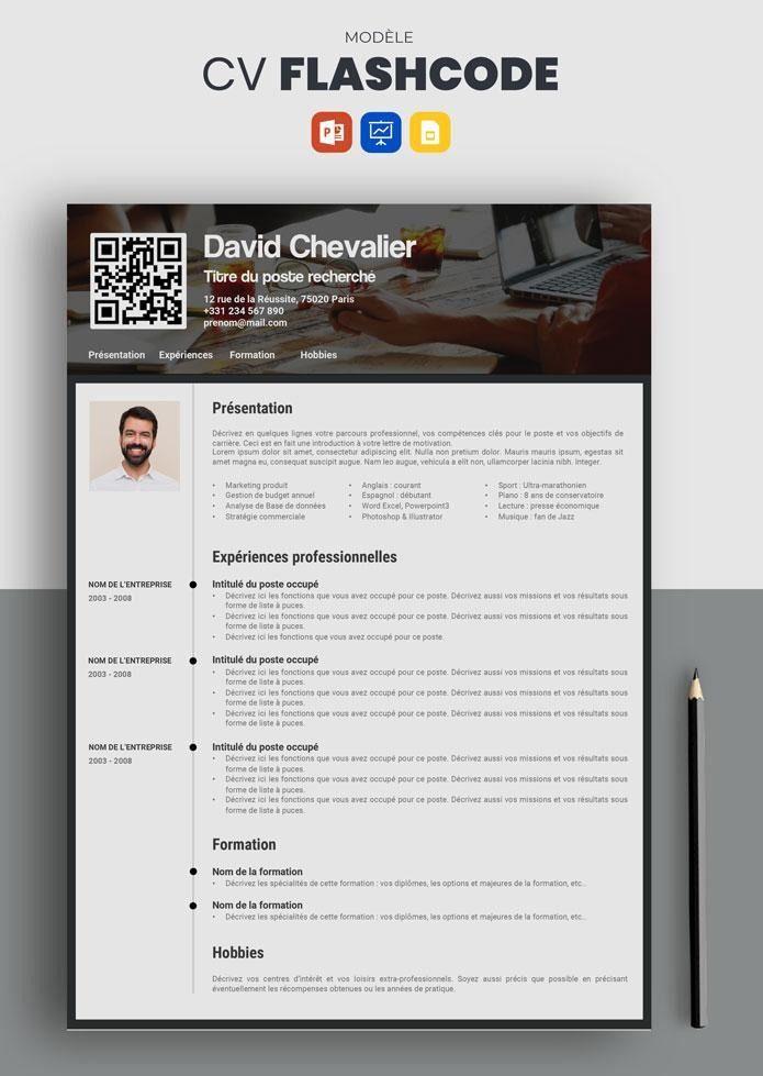 Cv Flashcode Modele De Cv Creatif Et Original A Telecharger Modele Cv Modele De Cv Creatif Exemple De Cv Original