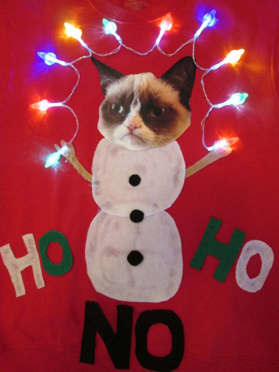 Ugly Christmas Sweater with Lights Grumpy Cat by MotherFrakers