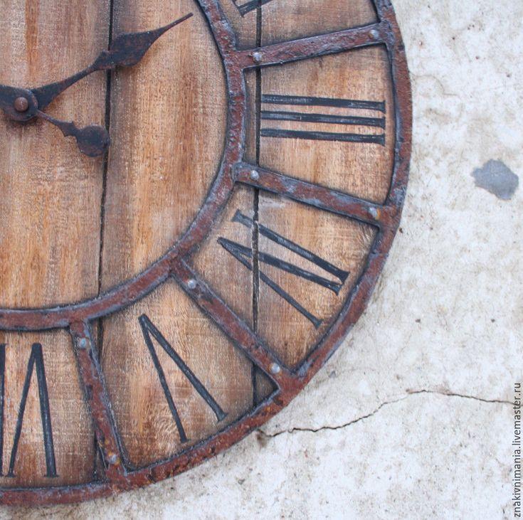 Купить Большие интерьерные настенные часы - коричневый, часы, часы настенные, лофт, лофт интерьер