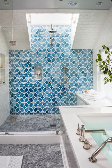 Massucco Warner Miller • Residential • Cow Hollow Residence - OTOH, this. Accent wall, large shower with a skylight flooding light in, yes.