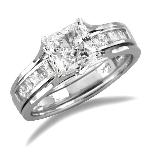 14k White Gold Prong Set Princess with Round CZ Cubic Zirconia Bridal Wedding Band Engagement Solitaire Ring 2 Two Ring Set 1.75ct IceNGold,http://www.amazon.com/dp/B004YIUWC0/ref=cm_sw_r_pi_dp_KETIrb78AB7A4B99