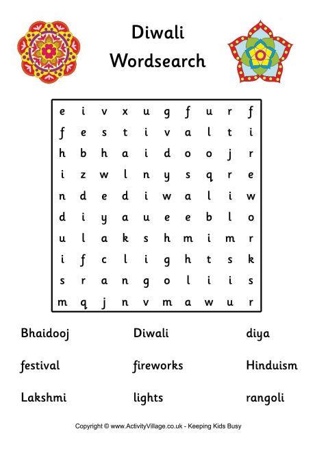 Diwali word search