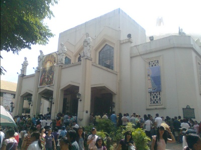 Antipolo church  .. antipolo is the town i'm 'from'.. this is the church where thousands upon thousands make a pilgrimage to every Easter.  Surrounding the church is Antipolo market where I would go to get medicines, tsnelas, fruits and vegetables, etc.  (you can find more 'grand' photos of antipolo church on google images, but this one captures it's reality.. the image even seems a bit 'foggy' from the heat).. ;)