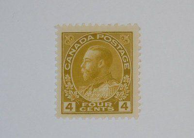 Stamp Pickers Canada 1911-25 KGV Admiral 4c Scott #110 MNH VF $160+