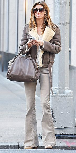 Obsessed or Hot Mess: Vote on These Daring Looks | FLARED KHAKIS | Flares are back in a big way for spring, but we're not sure we're mentally ready for the tan version that brings us right back to a middle school dance. (We never looked like Gisele Bündchen then, though.)