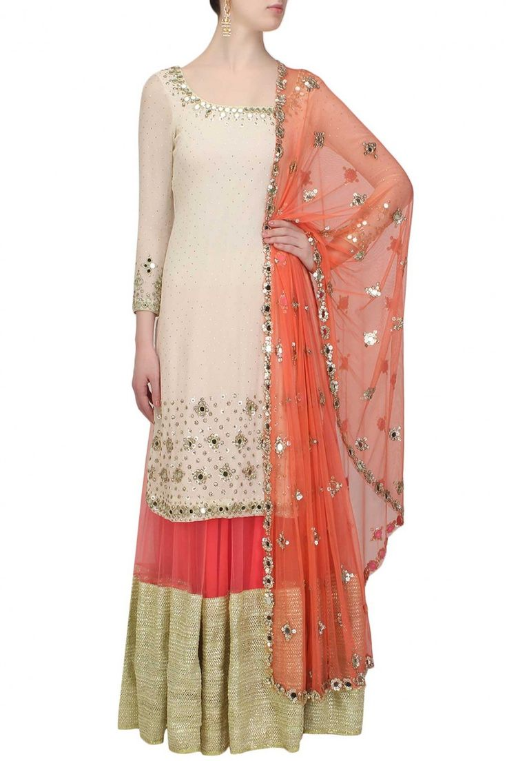 ABHINAV MISHRA Off white mirror work and sequins embroidered kurta and coral gota patti lace lehenga set