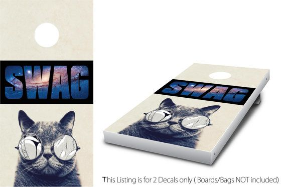 Cat SWAG Cornhole Wrap set 2 decals 24 x 48  by StickitGraphixllc