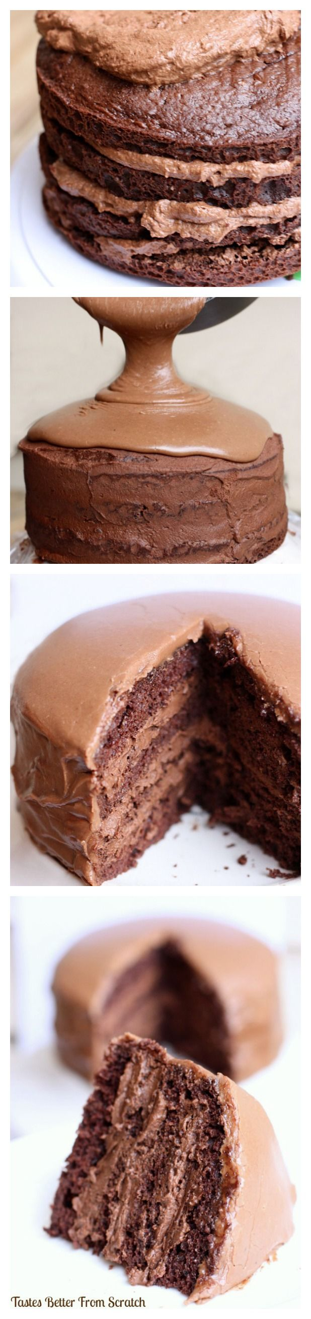 The BEST Chocolate Cake with Chocolate Mousse Filling! My favorite chocolate cake recipe with dark choc mousse fillling and warm frosting poured on top! AMAZING! Recipe from TastesBetterFromScratch.com:
