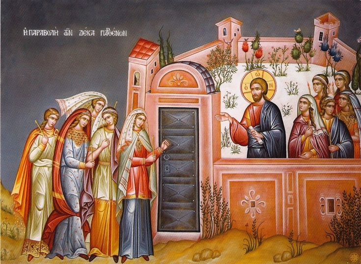 On Holy Tuesday the Eastern Orthodox commemorates the Parable of the Ten Virgins (Matthew 25:1-13), which forms one of the themes of the first three days of Holy Week, with its teaching about vigilance, and Christ as the Bridegroom. The bridal chamber is used as a symbol not only of the Tomb of Christ, but also of the blessed state of the saved on the Day of Judgement. The theme of the Parable of the Talents (Matthew 25:14-30) is also developed in the hymns of this day.