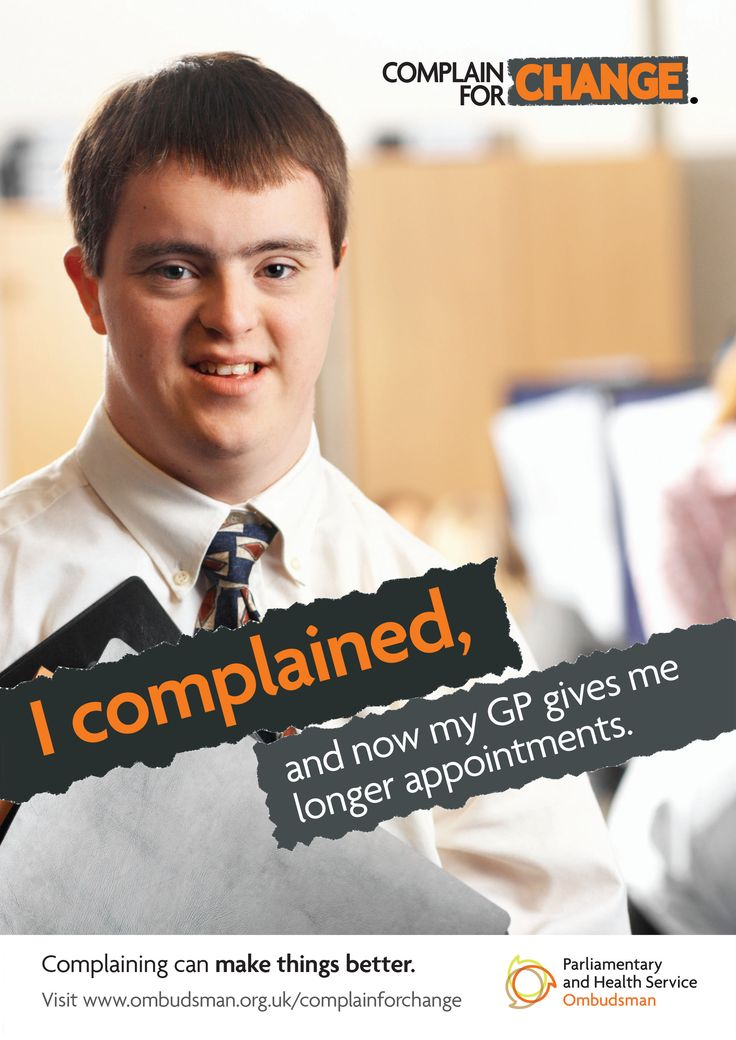 This poster is one in a series of three posters aimed at people with a learning disability. It shows a young man and says:' I complained, and now my GP gives me longer appointments'.