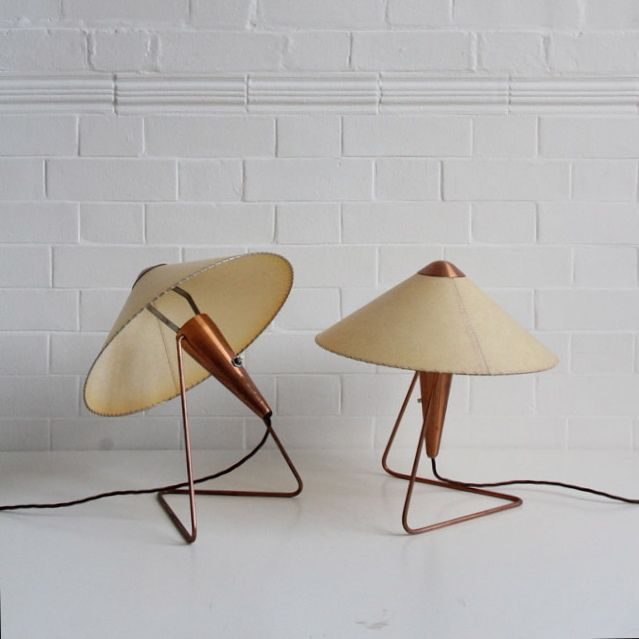 A pair of Josef Hurka copper table lamps. Czechoslovakia, 1950.  These table lamps by Czech designer Josef Hurka have elegantly angled coppe...