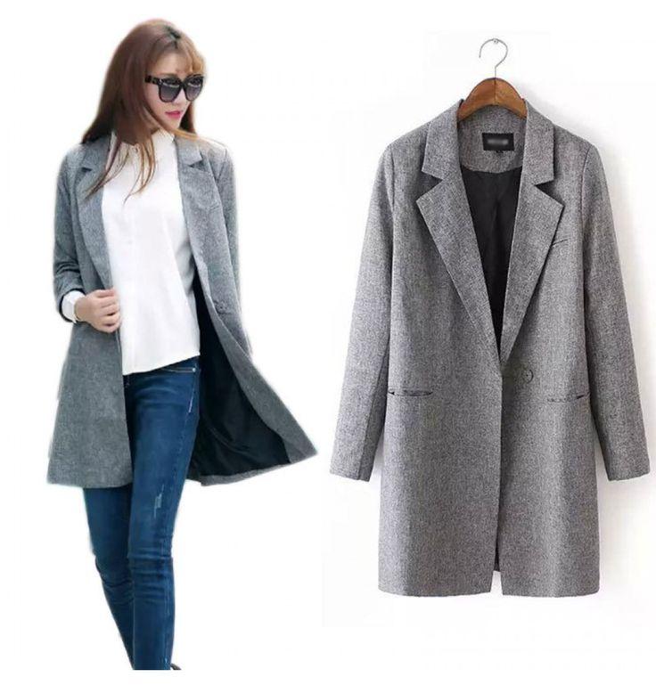 Winter Damen Blazer Jacke in Grau