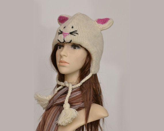 White kitty cat animal hat   warm hat  knit hat  by HatsMittensEtc