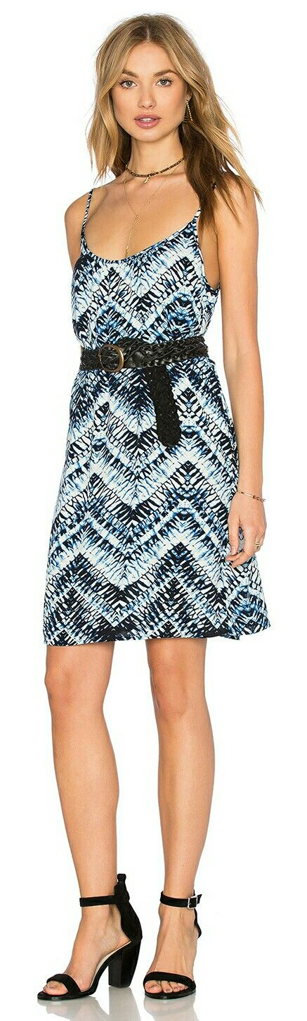 MICHAEL STARS Azure Crepe Print Cami Swing Dress in Nocturnal w. Black Leather Belt  Item SKU: ITEM 13850