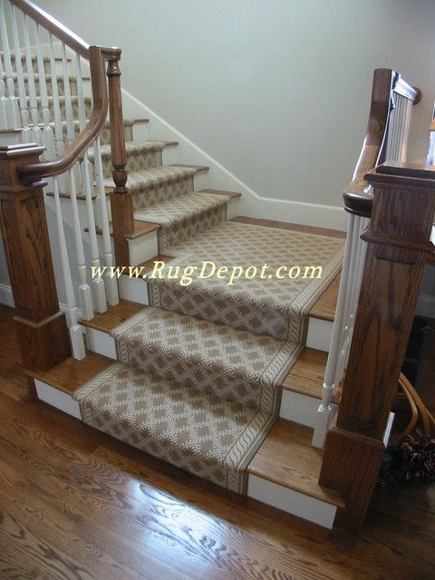 Couristan Staircase With Beige Stair Runner Carpet Stair Treads Couristan  Custom Made1