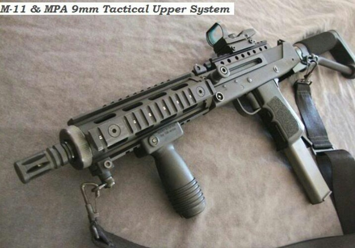 Mac 11 380... the end result looks a lot like a Kel-Tech Sub-2000 or a Hi-Point Carbine.