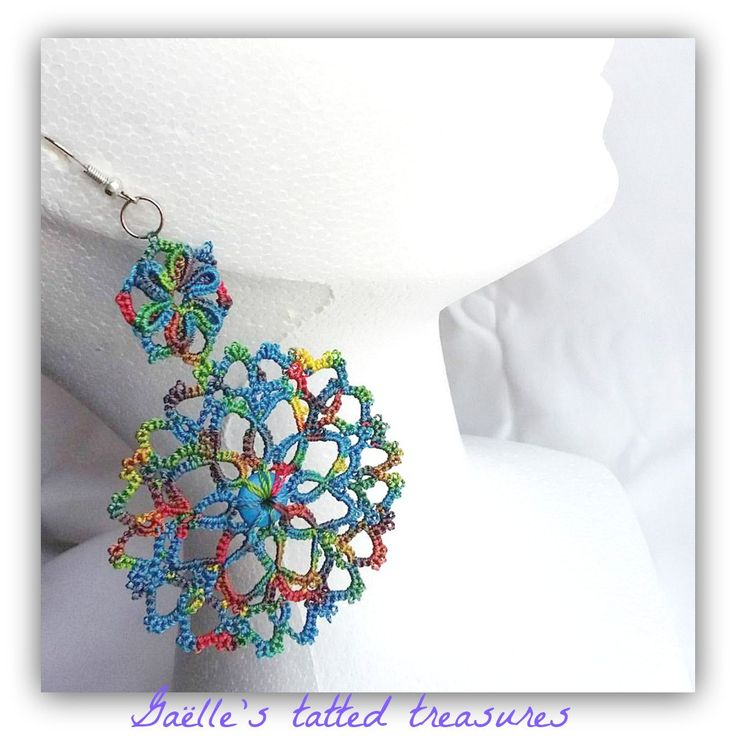 Blue shadows tatted lace  earrings, unique gift, original designed by Gaëlle's tattings, made in Italy, handmade multi colour earrings by gaestattedtreasures on Etsy