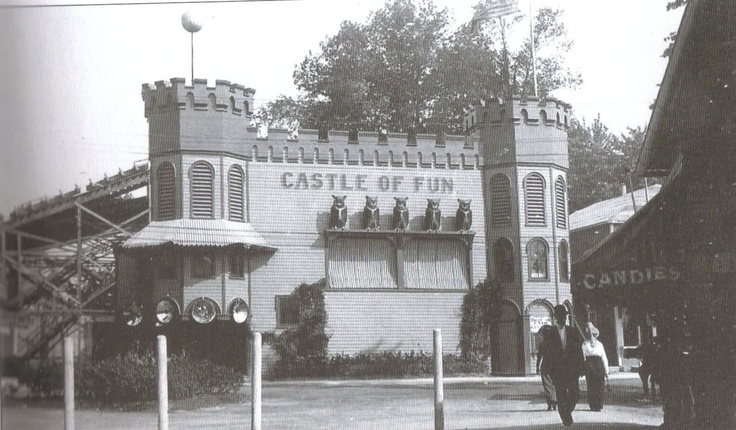 The Castle of Fun greeted most visitors as they stepped off the trains (Near where Kiddieland is today). It was a fun house with slides, mirrors and moving barrels. Later it would become the Crazy Maze featuring Laughing Sal, a mechanical woman who laughed all day.