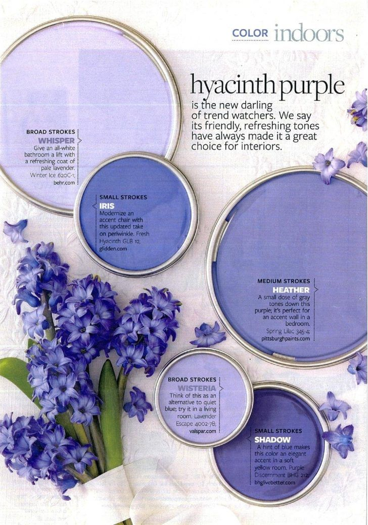 Hyacinth Purple Paint Color Palette Colors Used Behr Whisper Glidden Iris Pittsburgh Paints Heather Valspar Wisteria Bhg Live Better Shadow