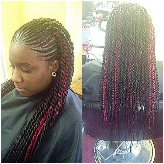 Long Twist With Cornrows For Black Women Hairstyles