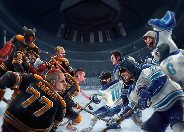 Villains versus Heroes… if such hockey teams would exist, which team would YOU be rooting for?  Job Ubisoft Canada Art by Santtos