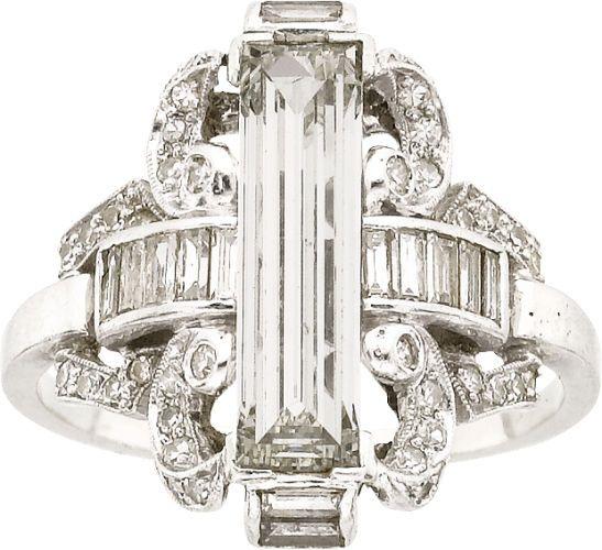 Estate Jewelry:Rings, Art Deco Diamond, Platinum Ring. ...