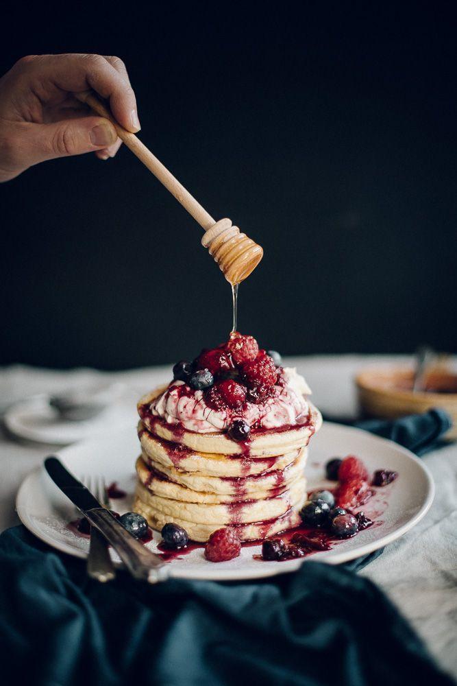 Orange Blossom Pancakes with Vanilla Honey Cream & Berry Compote / Jet & Indigo