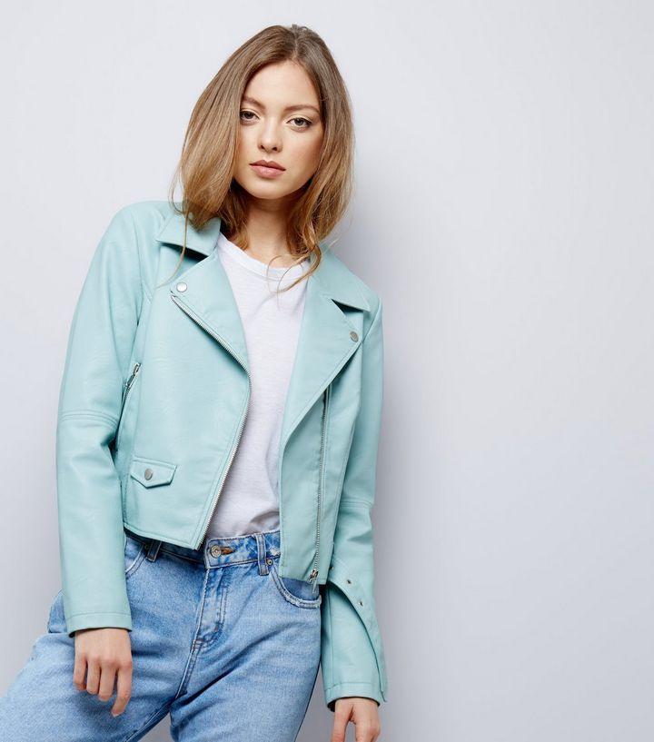 Veste en similicuir vert menthe à ceinture    New Look