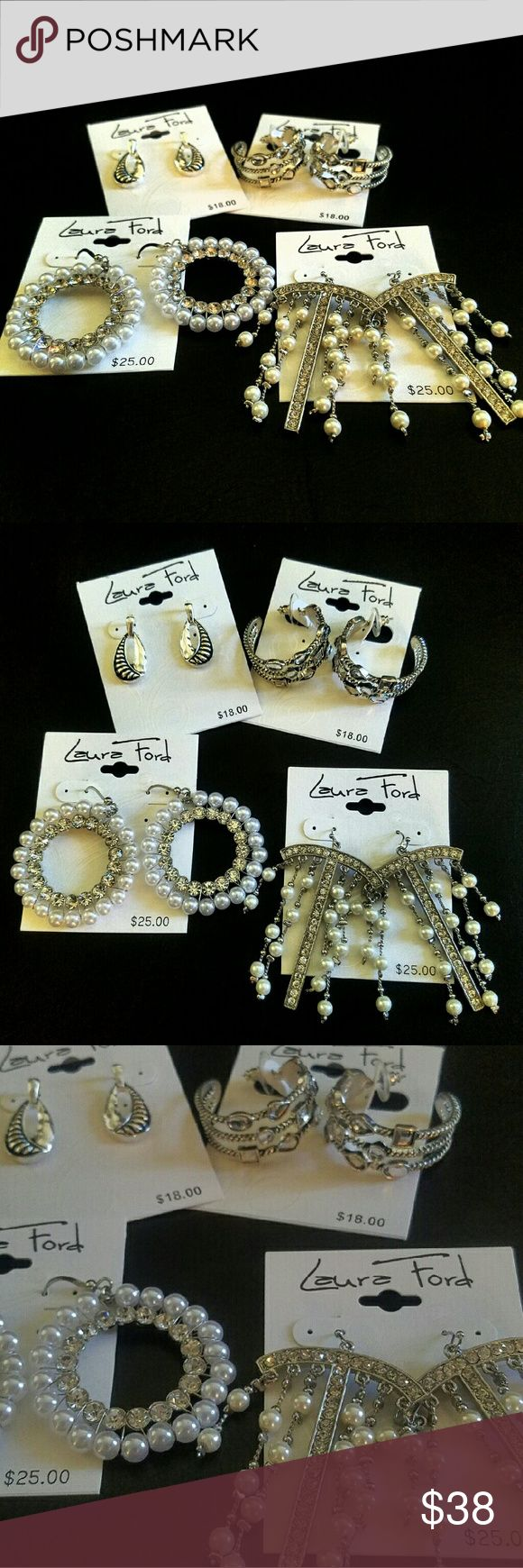 Laura Ford 4 PAIRS of earings bundle NWT Laura Ford 4 PAIRS of earings bundle NWT Would make a great holiday gift! Selling less than 10$ a pair!  ***let me know if you want to to bundle or seporate any specific items in my closet and I will make a new listing just for you! Feel free to make me an offer as well!    (#24) Laura Ford Jewelry