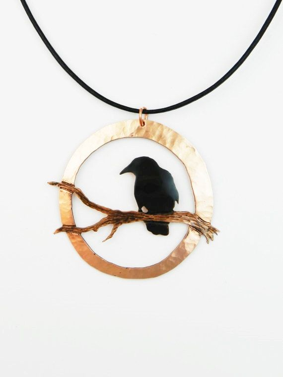 Handcrafted black patina gothic copper crow pendant #2 Large, raven necklace, crow jewelry, metal crow art, pacific northwest, canteam