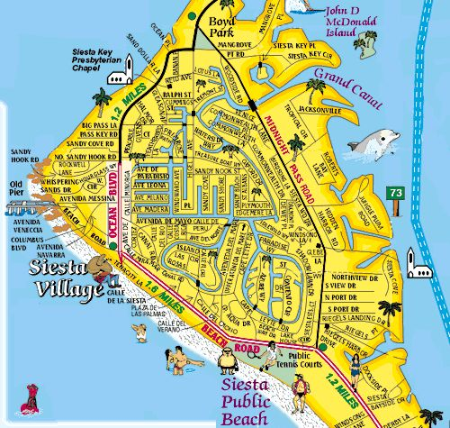 Siesta Key Village Map courtesy of Siesta Key Souvenir Guide