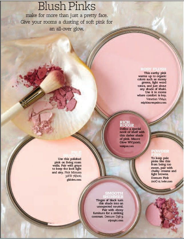 Hues of Blush Pink paints. All of these plus dark grey/silver furniture and one…