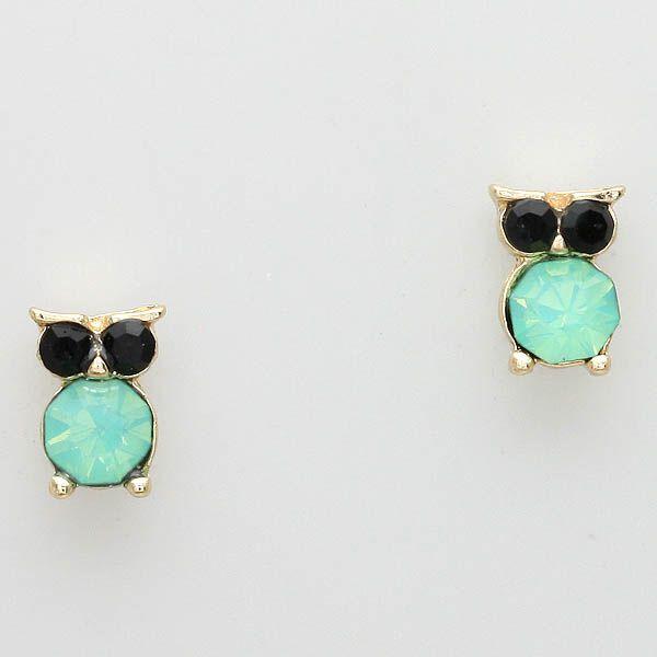 womens cheap jackets Tiny Owl Earrings in Mint  Jewelry