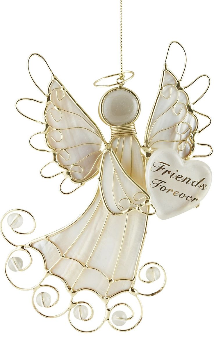 """[""""Share this lovely Christmas angel ornament with someone special! Gold wire combines with pearly white material to create this beautiful Christmas ornament. In her arms, she holds a heart with the words \""""Friends Forever.\"""" A perfect gift for a friend or loved one, this Christmas angel will be a wonderful reminder of you much you care.Ornament hangs 6-1\/4\"""" long.""""] $9.99"""